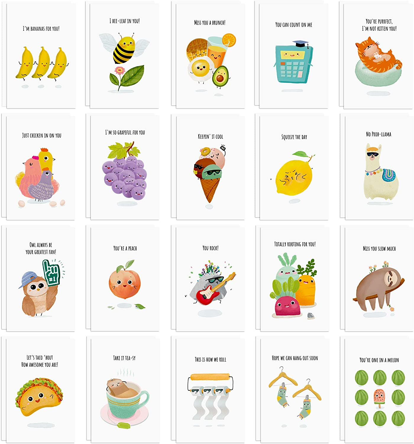 40 Funny Postcards Punny Puns - Bulk Thinking of You Postcard Pack for Friends, Family, Kids, Students, Teacher, and More - Say Hello, Thank You or I Miss You with Hilarious Animals and Food Cartoon Note Cards