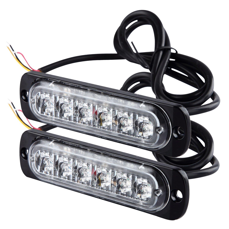2pcs LED (6perles) Ambre Ultra fin d'urgence Hazard stroboscopique avertissement Light bar pour 12V–24V de voiture véhicule, sécurité clignotant Beacon pour SUV Remorque caravane [Noir] pa