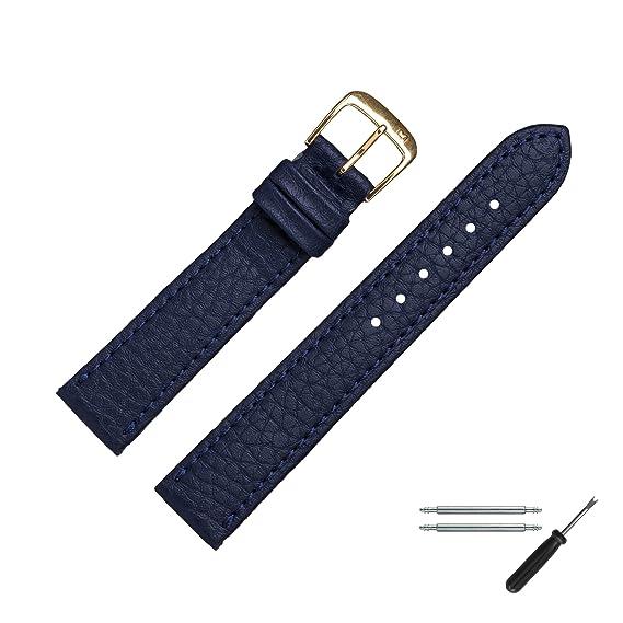 Marburger Reloj de pulsera 20 mm piel azul - Vegano) - Incluye Accesorios - Pulsera, cierre de repuesto Oro - 5202051000220: Amazon.es: Relojes