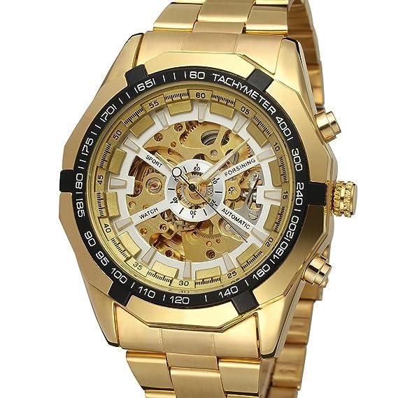 Amazon.com: Fanmis reloj automático dorado con reloj ...