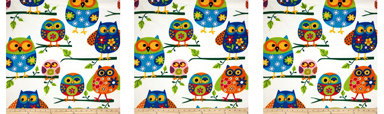Windham Fabrics Winter Fleece Owls Multi Fabric by The Yard, Multicolor 0305104