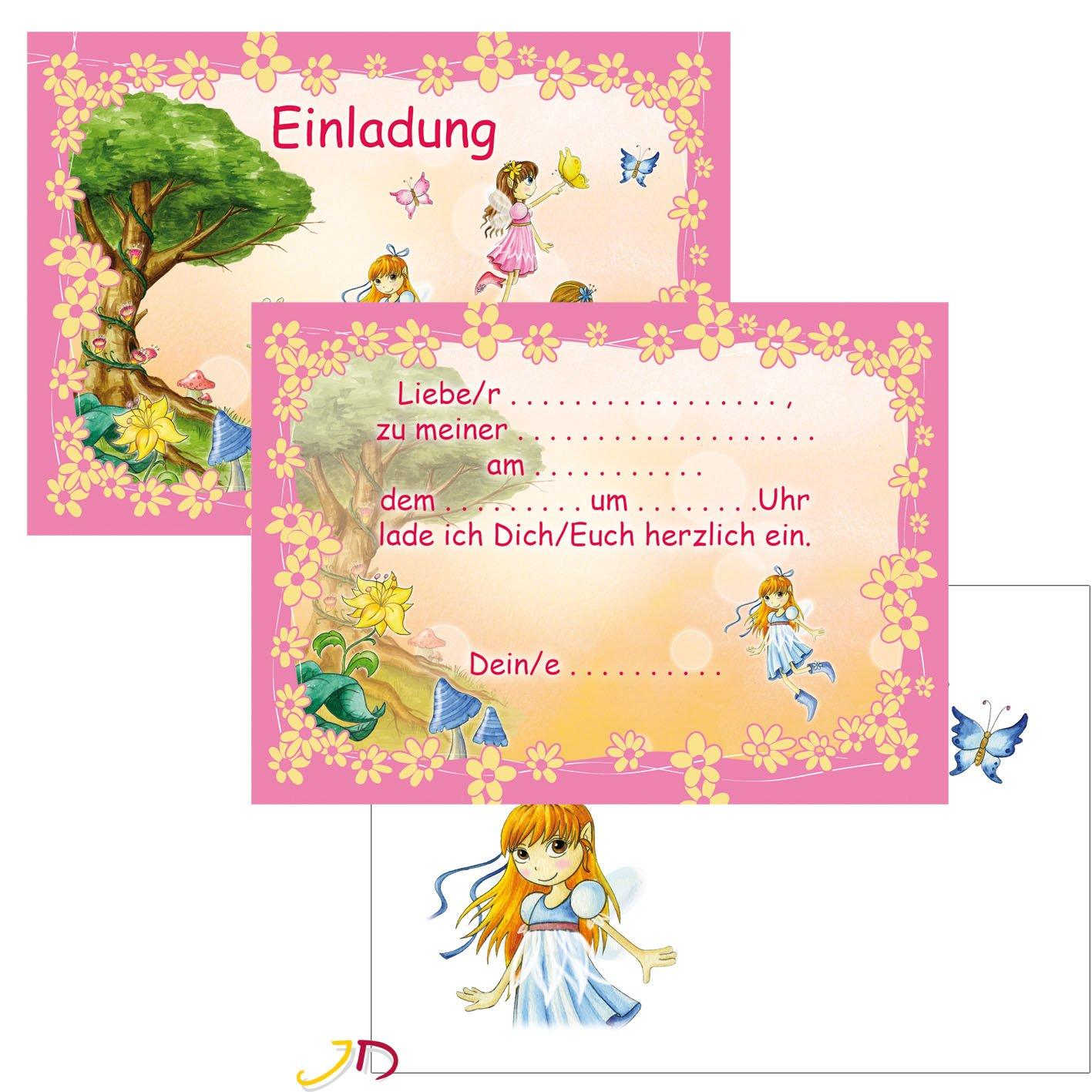 12 Teiliges Einladungen Set * FEEN U0026 ELFEN * Mit 6 Einladungskarten Und 6  Umschläge Für Kindergeburtstag // Kinder Geburtstag Party Einladung Karten  Fee ...