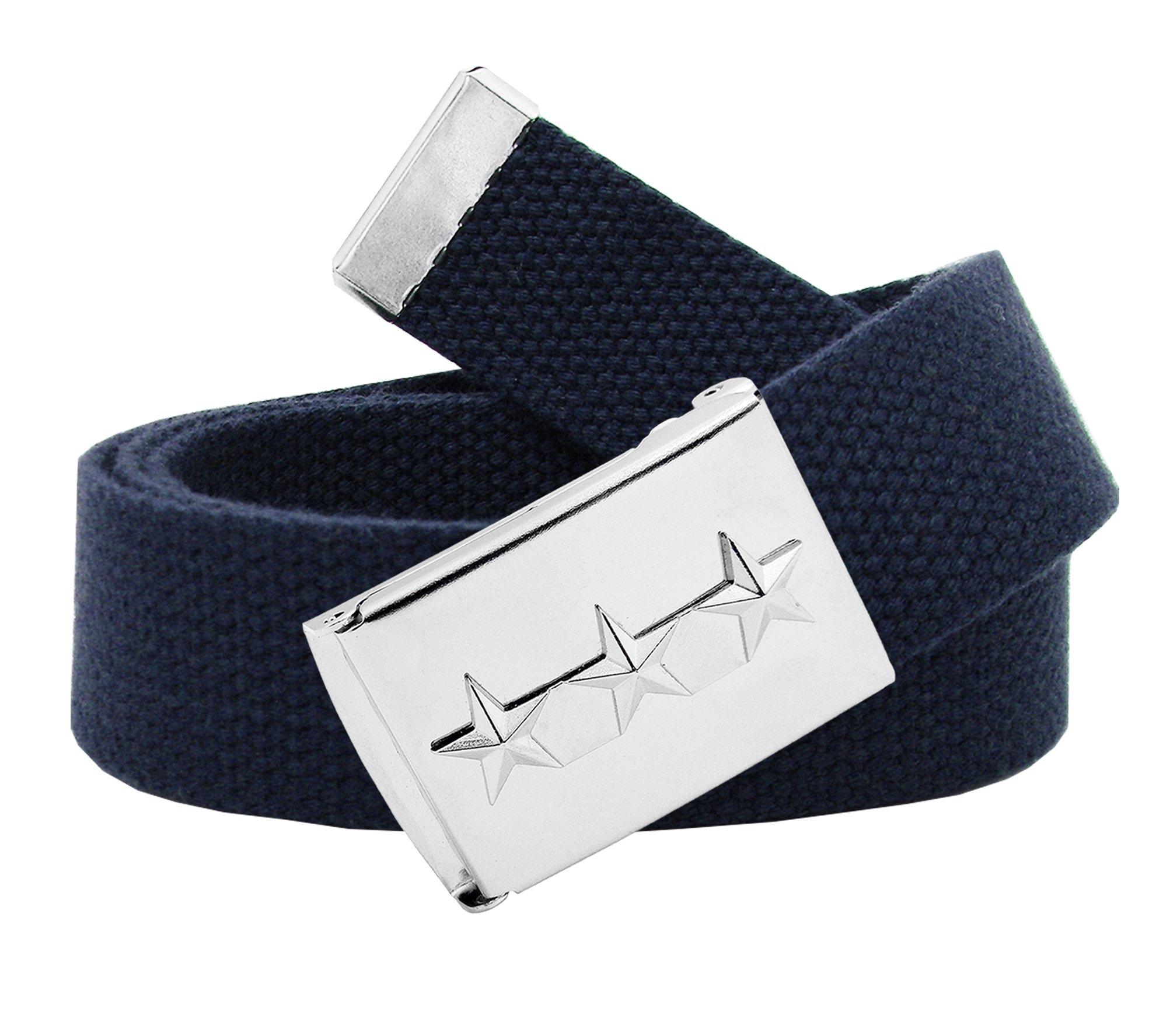 Women's Triple Nautical Star Silver Flip Top Belt Buckle with Canvas Belt XXX-Large Navy Blue