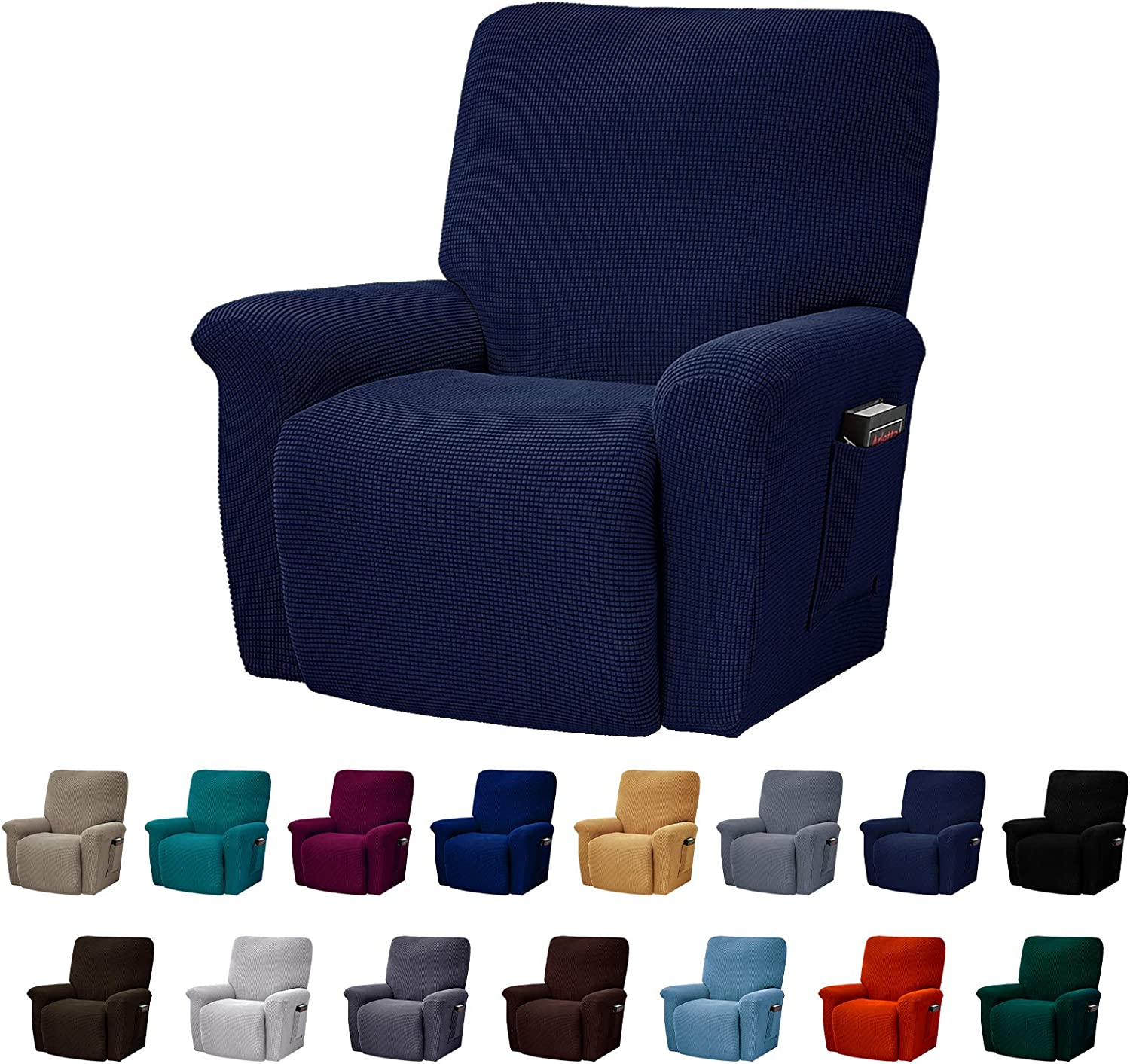 AlGaiety Stretch Recliner Slipcover Sofa Cover 4 Separate Pieces/1 Set Spandex Jacquard Fabric Furniture Protector Couch Cover with Elastic Bottom for Living Room(Recliner,Navy)