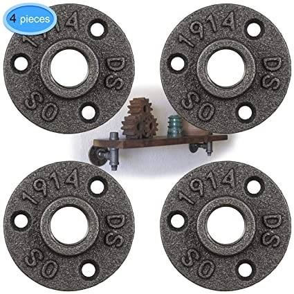 """4 Pack 1/2"""" Floor Flange Black Cast Iron Pipe Fittings Retro Decor Threaded  Industrial Plumbing DIY Furniture Pipe Shelf Wall Flanges for Pipe by"""