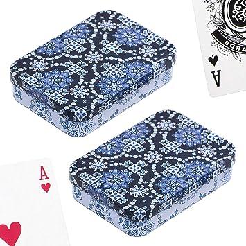 PracticDomus Set de 2 Barajas de Cartas de Póker en Estuche Metálico, Diseño de Giordano di Ponzano. Colección Arabesque: Amazon.es: Juguetes y juegos