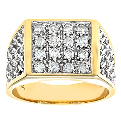 Naava Men's 9 ct Yellow Gold Set with Three Stones Diamond Trilogy Ring