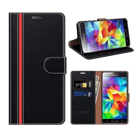 coodio Funda Cuero Samsung Galaxy S5, Funda Samsung S5 Neo, Funda Cover Rugged Galaxy S5 Case con Magnético/Cartera/Soporte para Samsung Galaxy S5 / ...