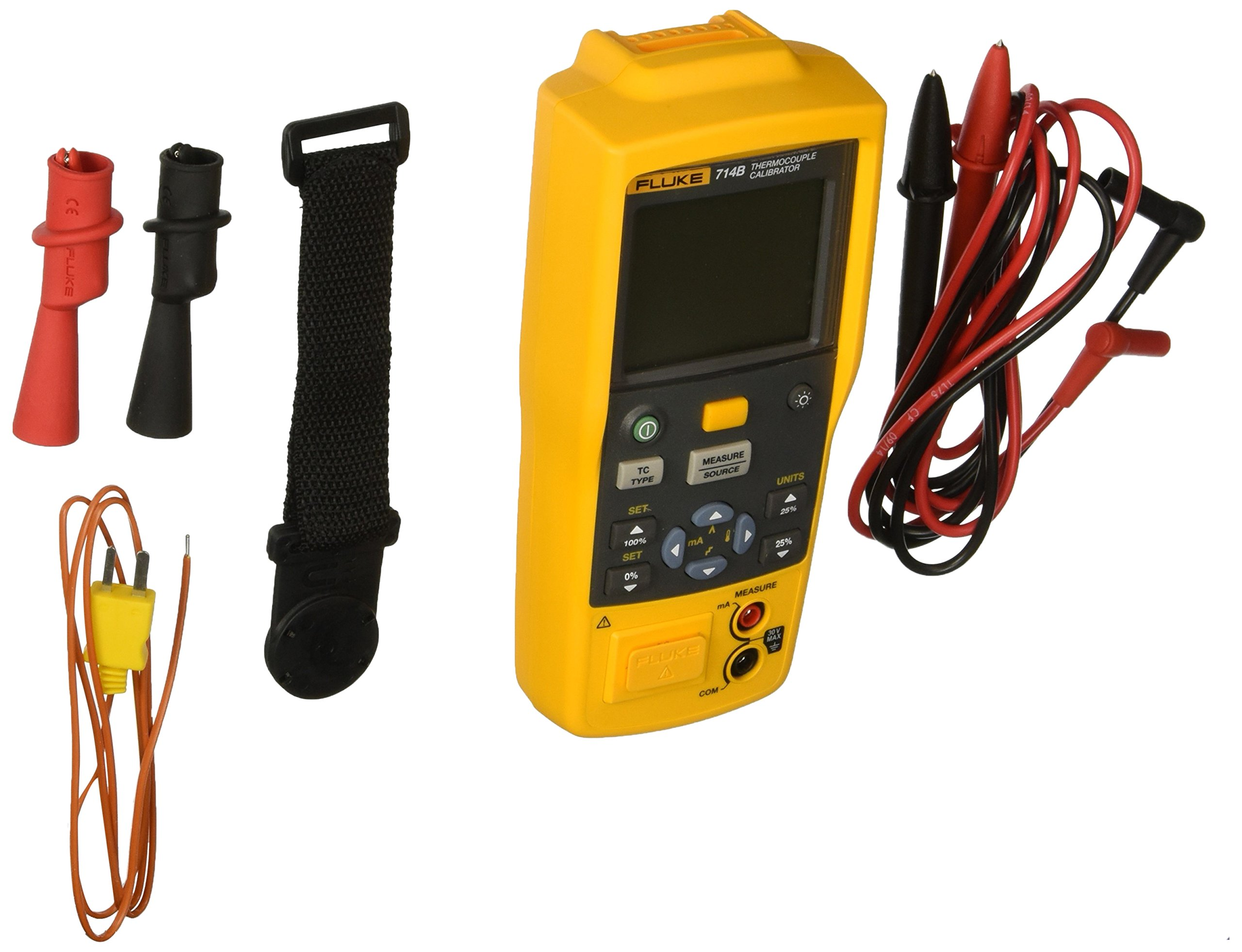 Fluke 714B Thermocouple Calibrator, Yellow/Brown/Black/Red