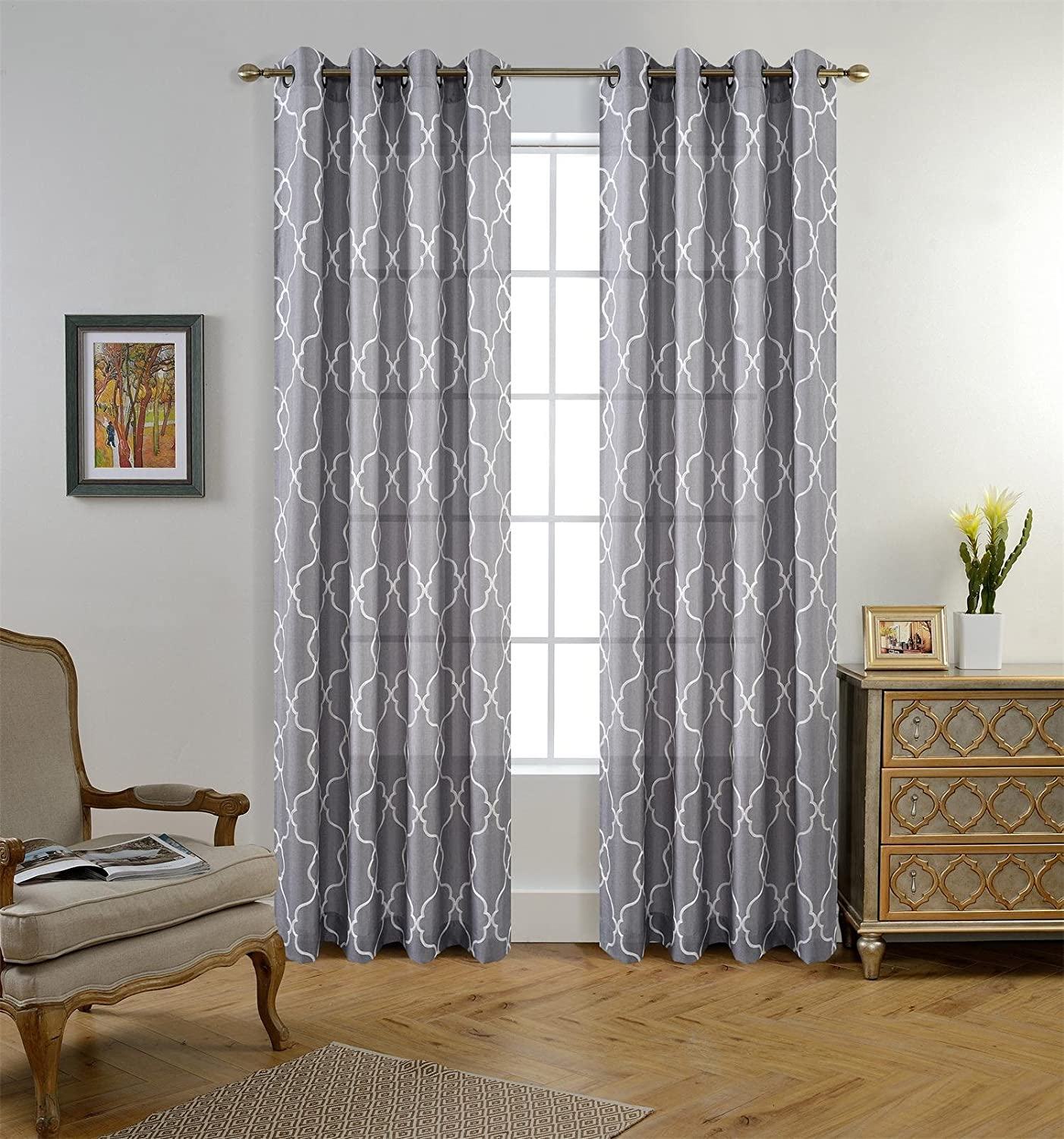 Miuco Moroccan Embroidered Semi Sheer Curtains Faux Linen Grommet Curtain Panels for Bedroom