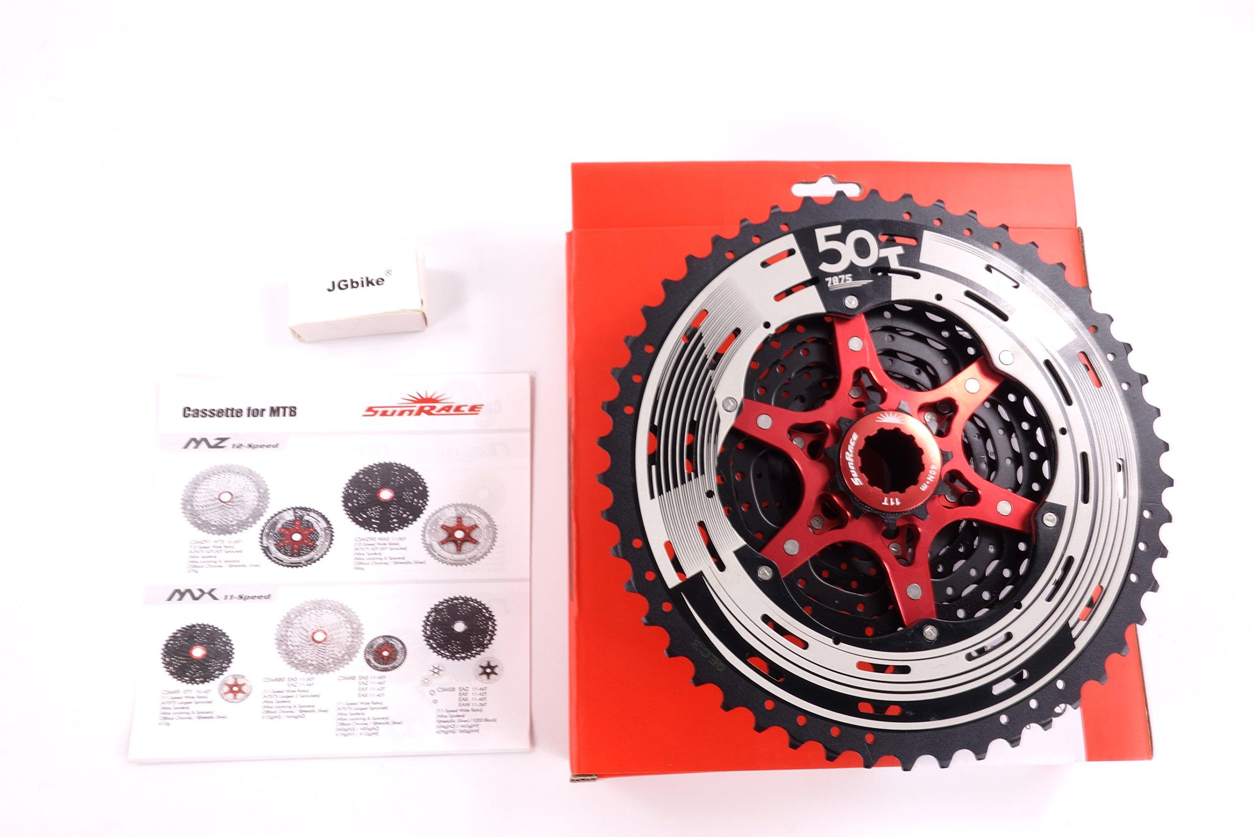 Sunrace 12-speed 11-50T cassette freewheel CSMZ90 WA5 wide ratio MTB in Black with RD extender by JGbike (Image #2)