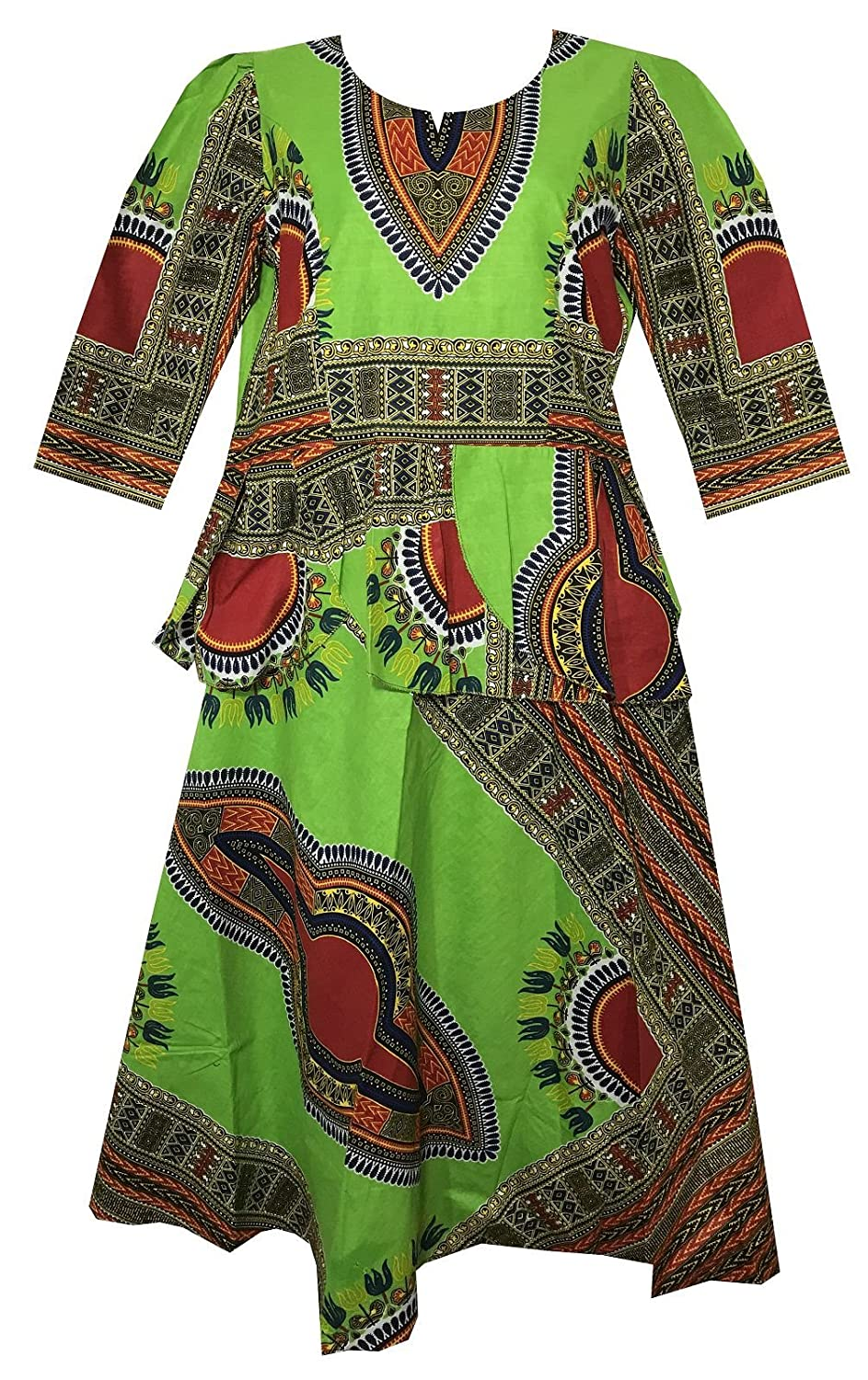 Decoraapparel African Girls Wax Dashiki Wrap Skirt Suit Women Maxi Outfit Suit M, L, XL 736385705069