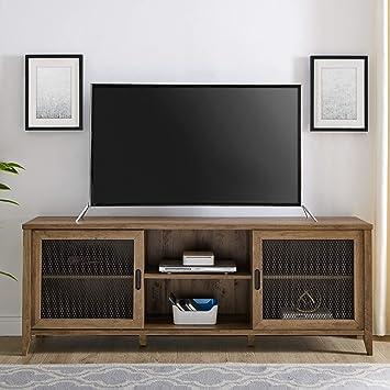 Home Accent Furnishings Tucker 70 Inch Barn Door TV Console in Rustic Oak