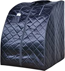 ALEKO PIN11BK Personal Folding Portable Home Infrared Sauna with Folding Chair and Foot Pad for Relaxation and Weight Loss 37 x 28 x 31 Inches Black