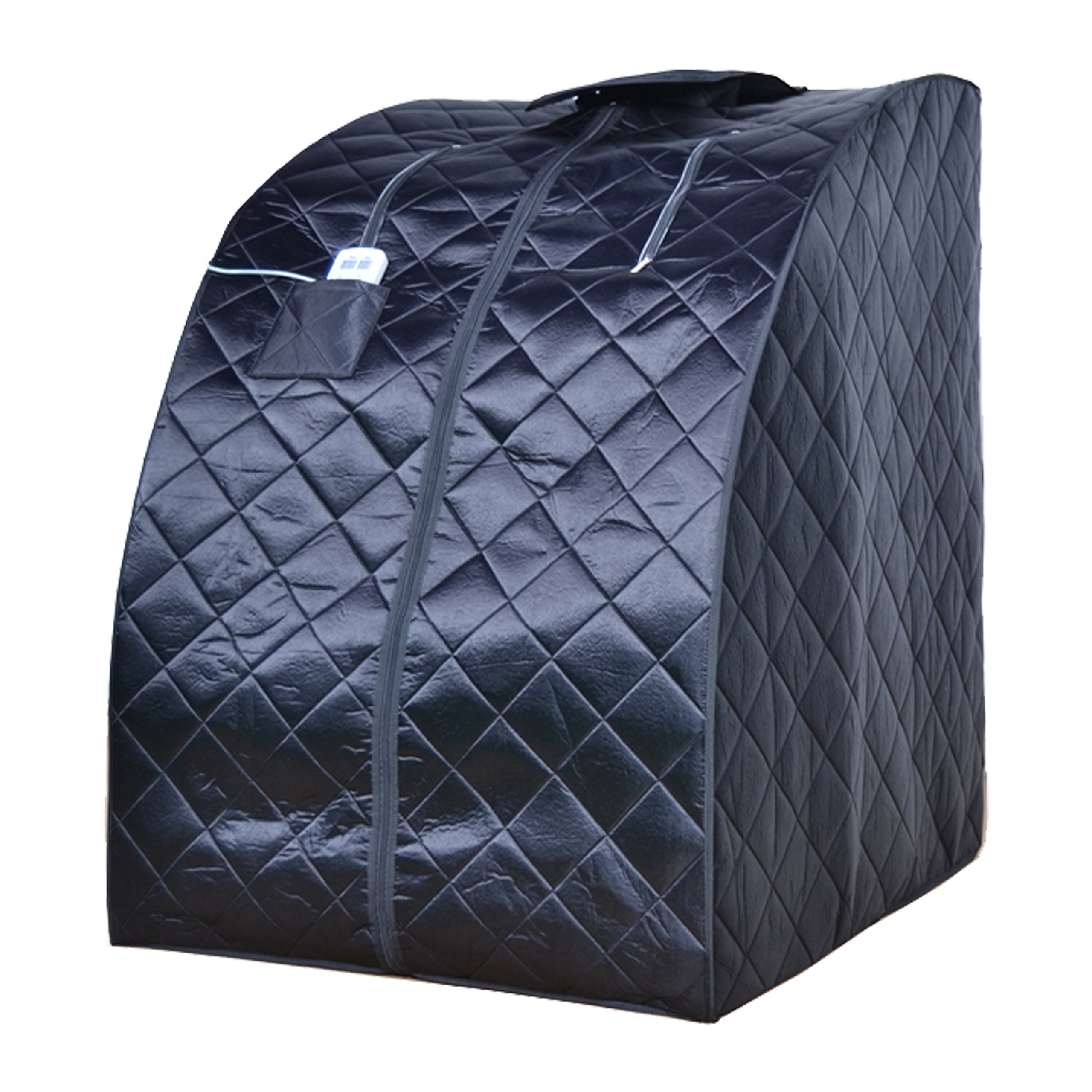 ALEKO PIN15BK Personal Folding Portable Home Infrared Sauna w/ Folding Chair and Foot Pad, Black