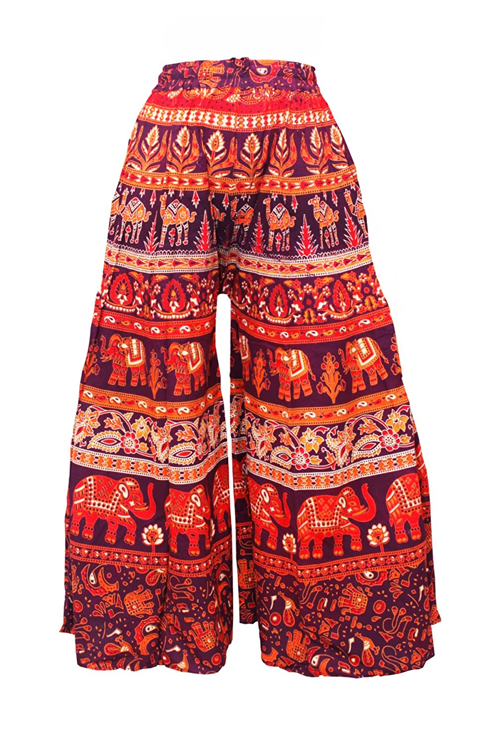 Ayat Cotton Women's Smocked Waist Harem Hippie Trousers Boho Palazzo Bohemian Pants Good for Party Holiday Yoga