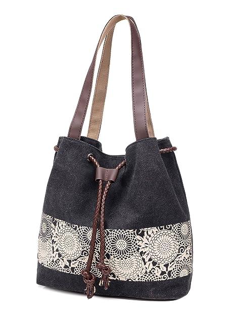 Amazon.com: dourr Mujer Bolso de lona bolsa de hombro Casual ...
