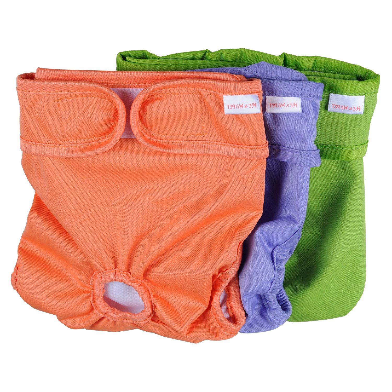 Dog Diapers Female Washable He&Ha Pet Female Dog Padded Diaper Reusable Dog Sanitary Panties Set of 3 (Large)