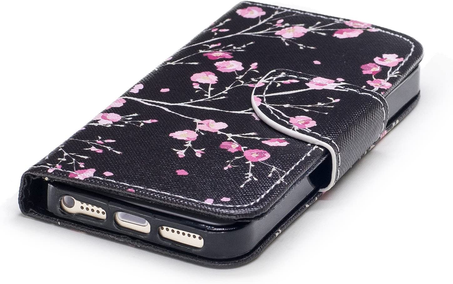 Wallet Case for iphone 5//5S iphone SE and Screen Protector,OYIME Elegant Colorful Painted Black White Cat Pattern Full Body Protection Flip Bookstyle Design Leather Cover with Wrist Lanyard Strap Holster Kickstand Card Slots Magnetic Closure Function