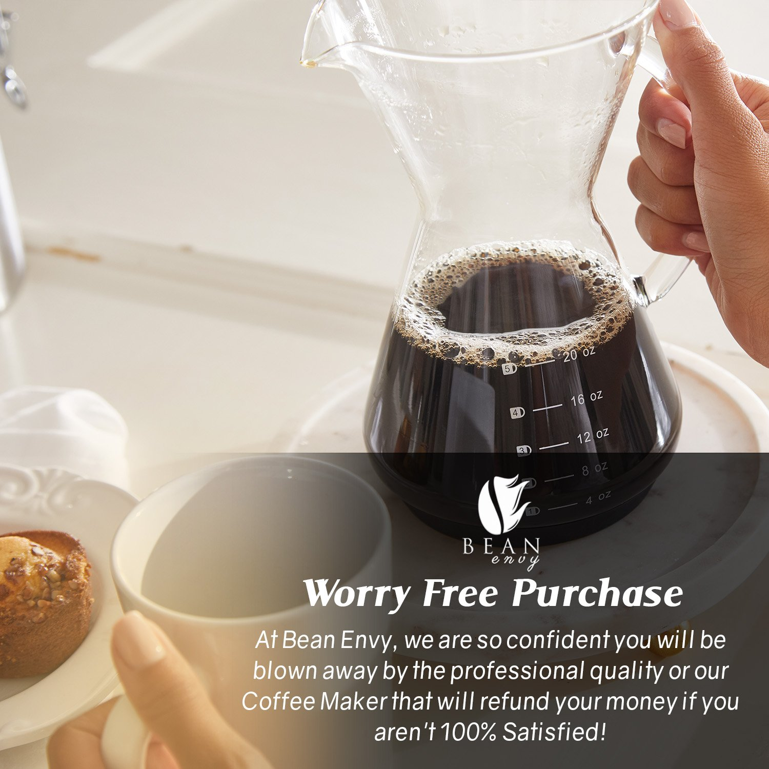 Bean Envy Pour Over Coffee Maker - 20 - oz Borosilicate Glass Carafe - Rust Resistant Stainless Steel Paperless Filter/Dripper - Includes Patent Pending Silicone Sleeve by Bean Envy (Image #7)