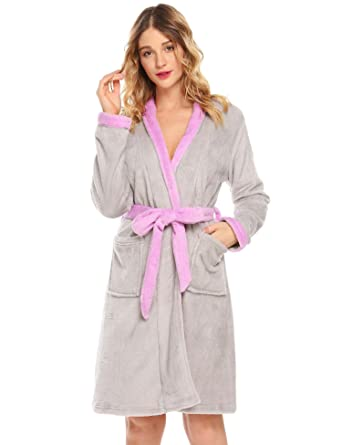6afd51d2f1055 Goodfans Women s Casual Long Nightgown With Pockets Soft Elegant Bathrobe  Loungewear Night Robe(Grey S