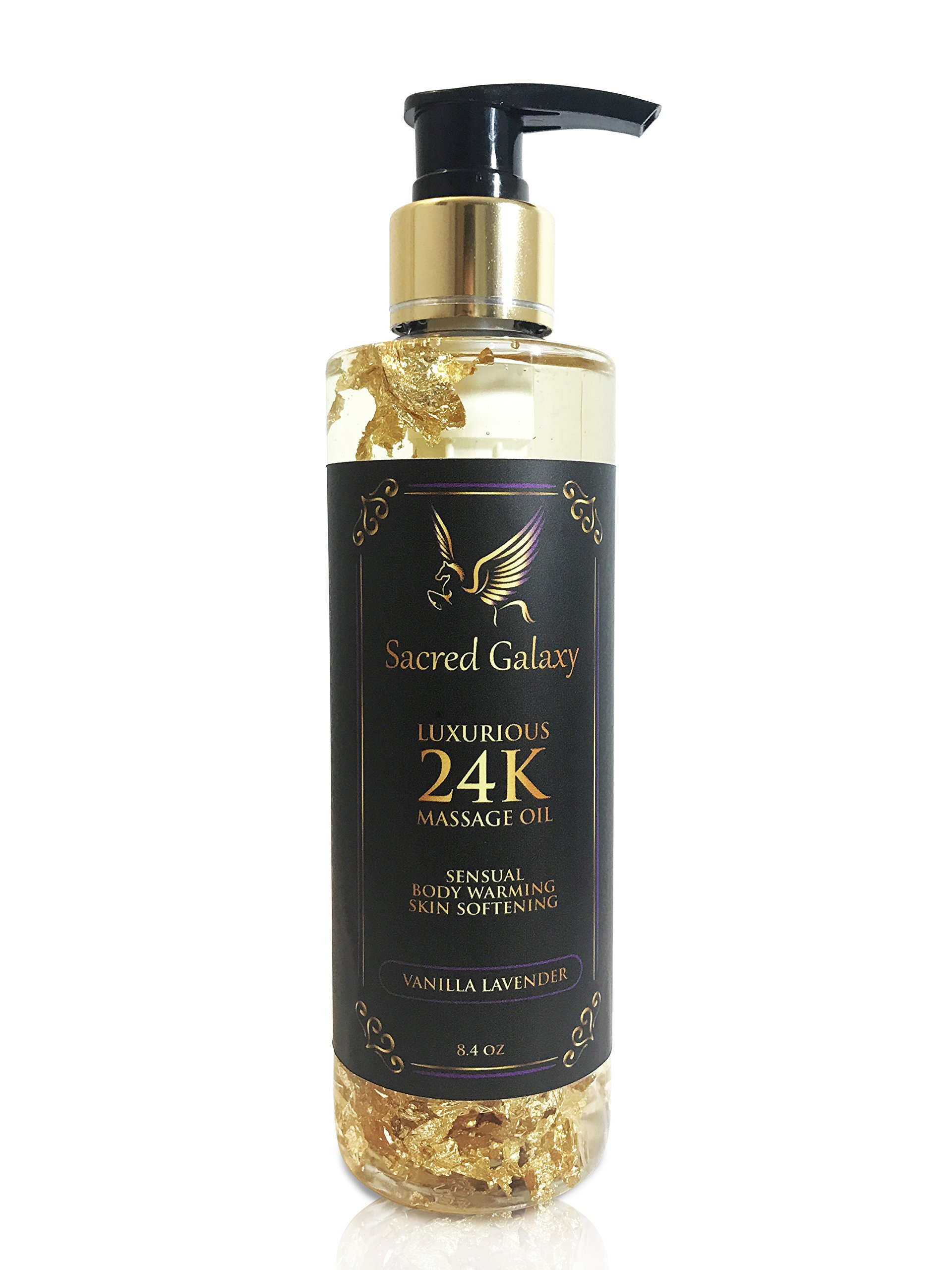 Massage Oil and Bath Oil for Couples with Luxury 24K Shimmer. Scented with Lavender and Vanilla. Made with Hemp Seed, Coconut and JoJoba
