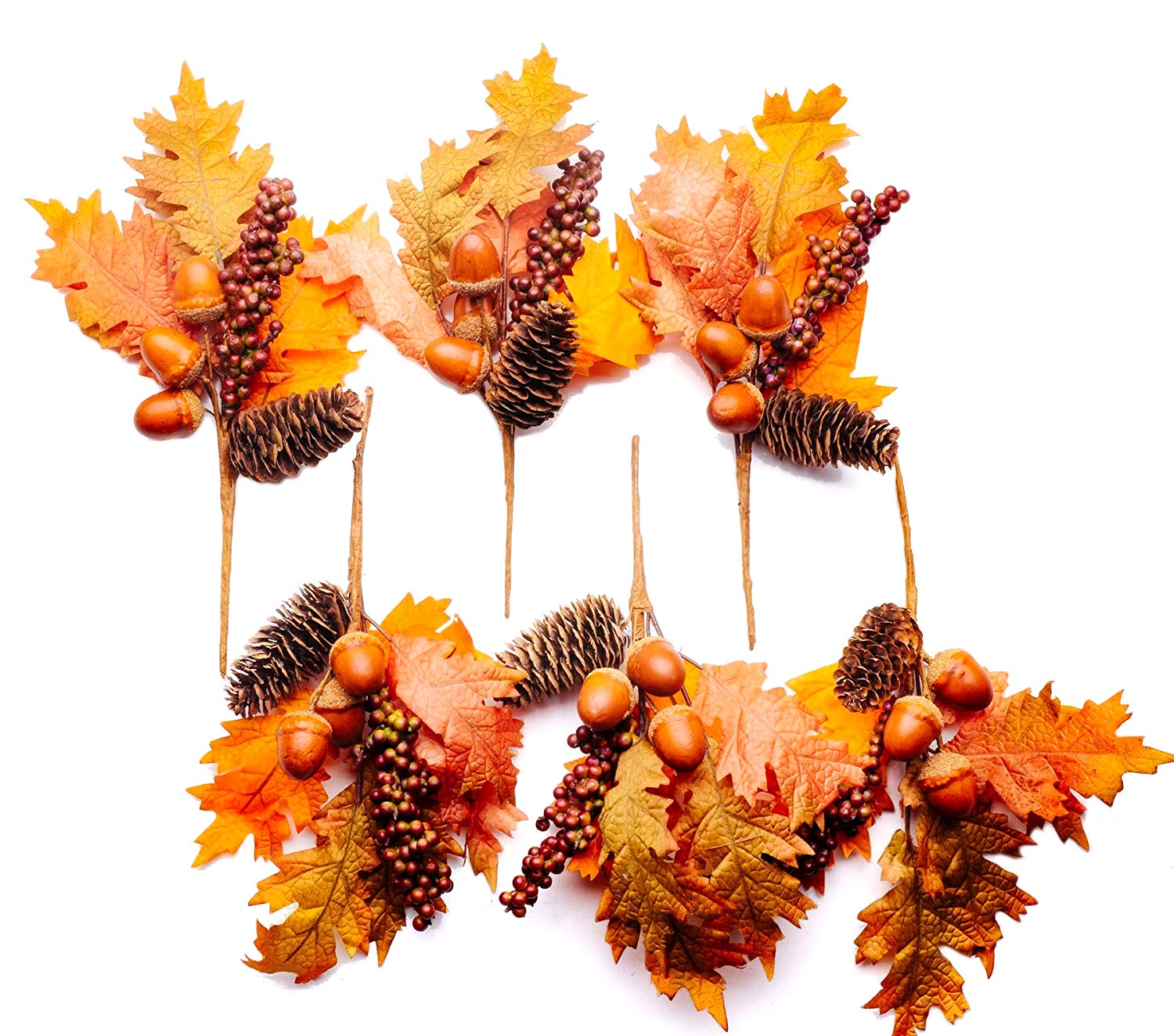 CraftMore Maple Pinecone and Berry Pick 11'' Set of 6 by CraftMore
