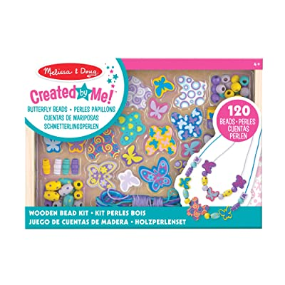 Melissa & Doug Butterfly Friends Wooden Bead Set with 150+ Beads for Jewelry-Making: Toys & Games
