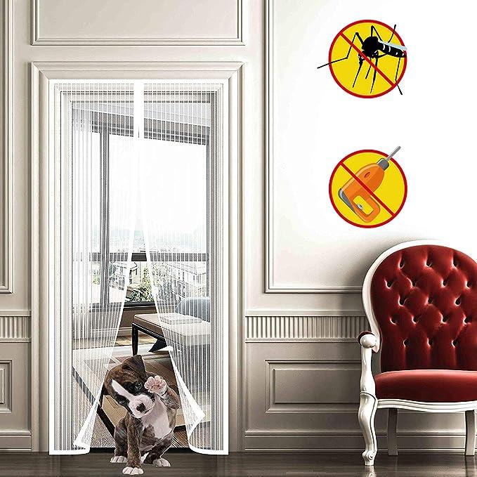 WISKEO Mosquitera para Puerta Corredera Magnetica, Cierre MagnéTico Que, Mantiene Mosquitos Fuera, Mosca Pantalla con Iman Cortina Varios Tamaños, Puertas Correderas Balcones - Blanco 110x240cm: Amazon.es: Hogar