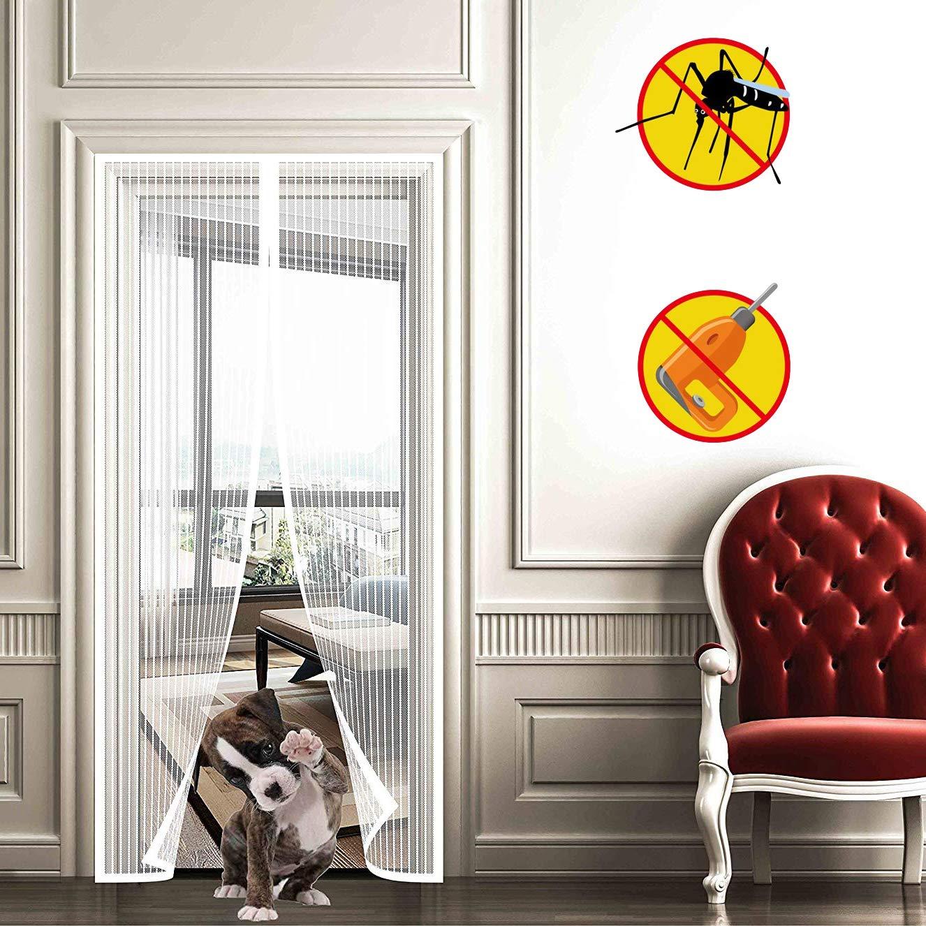 Cierra Autom/áTicamente Mosca Pantalla Durable Cortina Varios Tama/ños Protecci/óN de Insectos Blanco 75x210cm WISKEO Mosquitera Magnetica Puertas Correderas Balcones