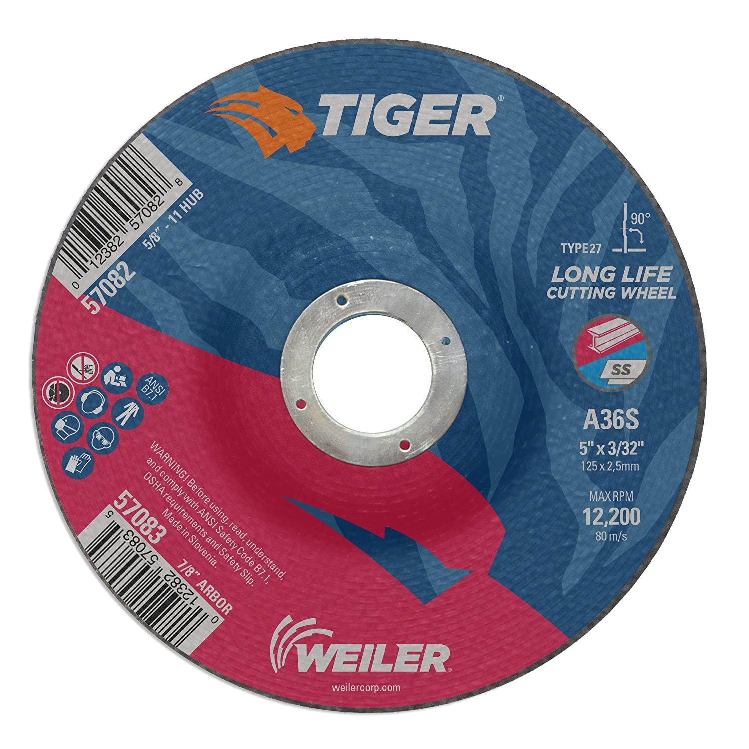 7//8 A.H. Pack of 25 Pack of 25 7//8 A.H. Weiler 57083 5 x 3//32 Tiger Type 27 Cutting Wheel A60T