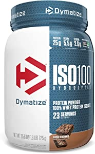 Dymatize ISO100 Hydrolyzed Protein Powder, 100% Whey Isolate Protein, 25g of Protein, 5.5g BCAAs, Gluten Free, Fast Absorbing, Easy Digesting, Fudge Brownie, 1.6 Pound