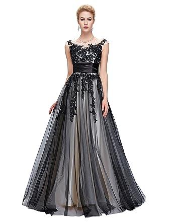 e4543187c9a Grace Karin Damen Abendkleider Ballkleider Lange Partykleider Prom Dress  mit Schwarz Applikation  Amazon.de  Bekleidung