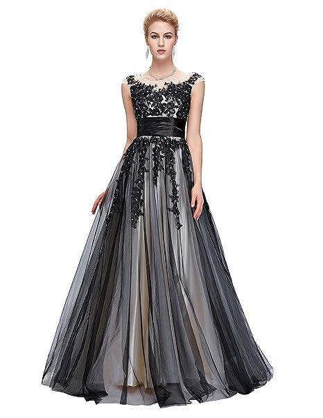 huge discount 60f40 e40fc Grace Karin Damen Abendkleider Ballkleider Lange Partykleider Prom Dress  mit Schwarz Applikation