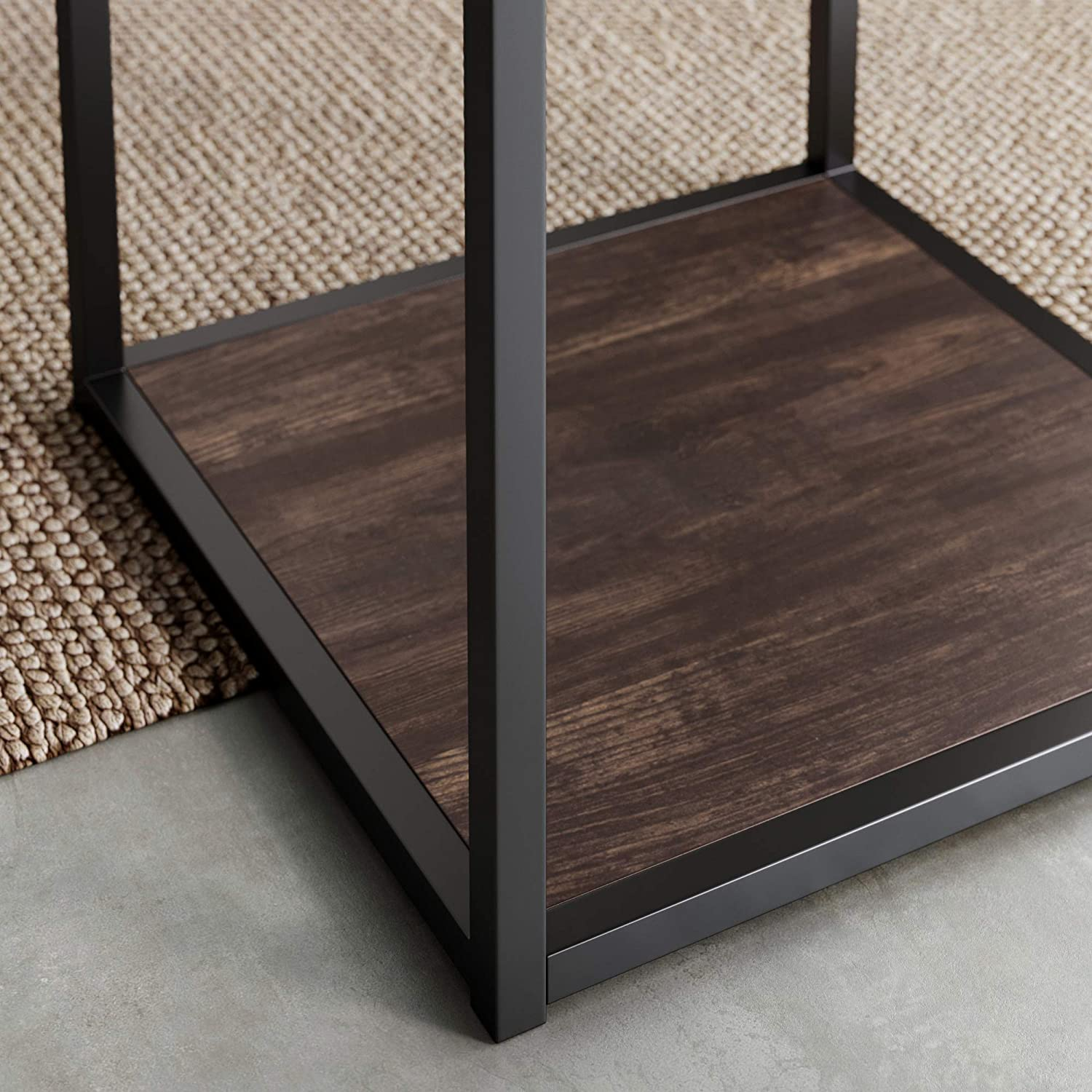 Nathan James Nash Modern Industrial Accent End or Side Table with Tray Top Wood Shelves & Durable Matte Metal Frame, Nutmeg