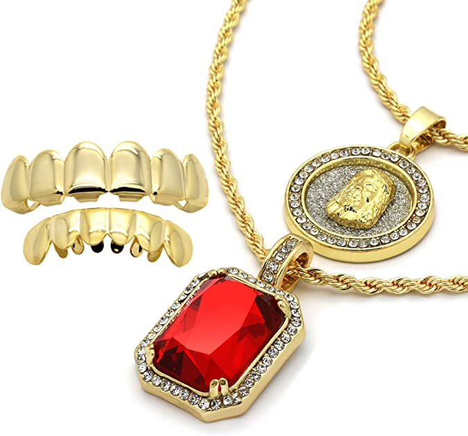 L2JKinc 14k Gold Plated High Fashion Jesus /& Angel w 2mm 24 /& 30 Rope Chain 07 w//Grillz