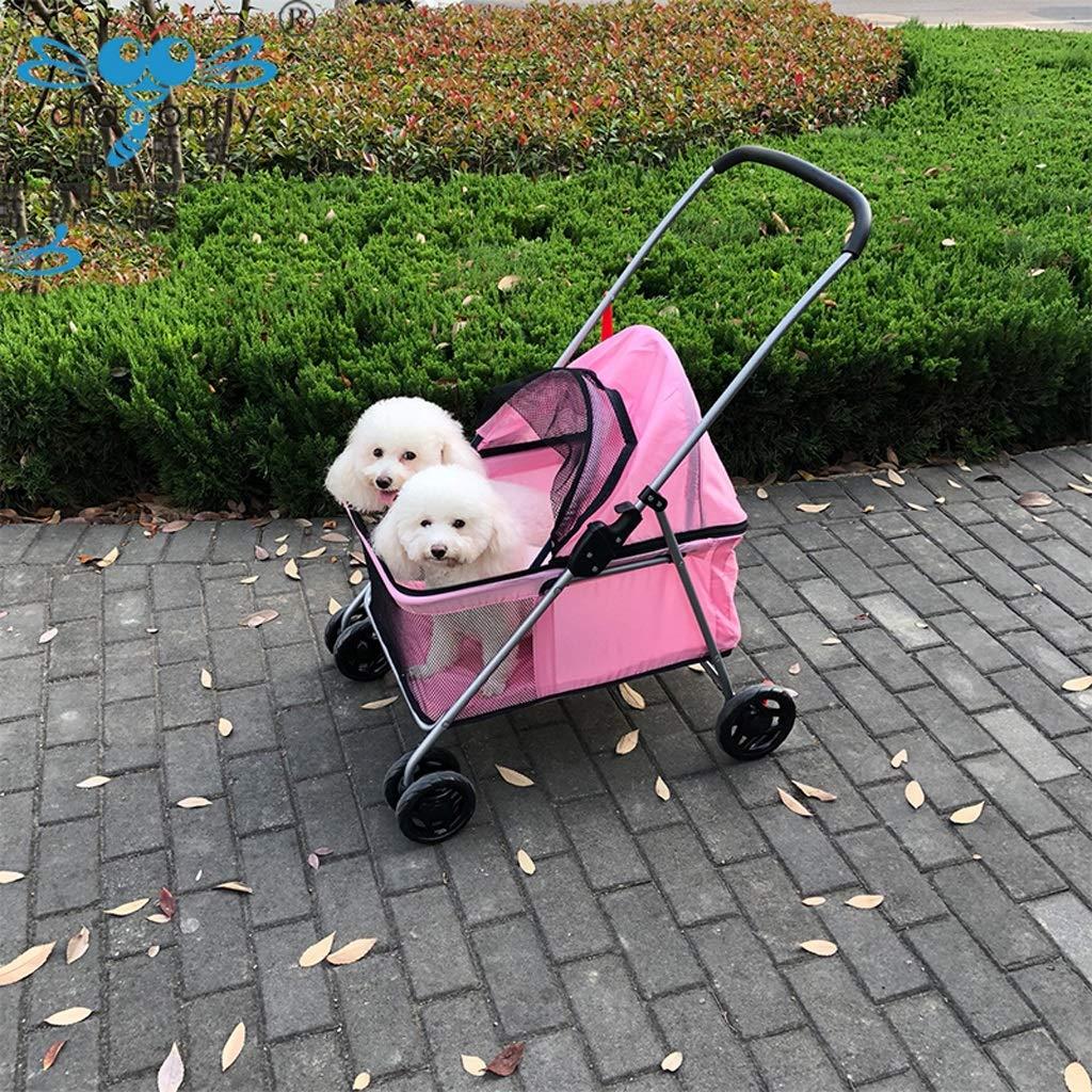 Lihuaa Passeggino per Cani Passeggino per Gatti Passeggino Passeggino Passeggino per Gatti più di Un Grande Spazio Pieghevole Pieghevole per Auto A Quattro Ruote (colore   rosa) ff2de8