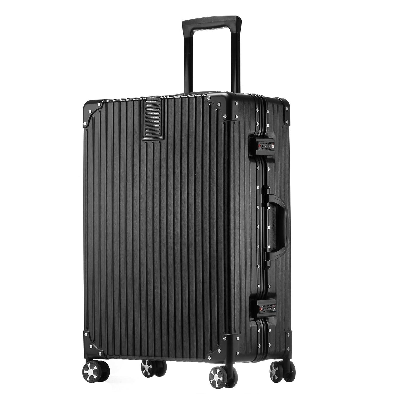 クロース(Kroeus)スーツケース 大型 軽量 人気 キャリーケース 旅行用品 出張 TSAロック搭載 機内持込可 大容量 耐衝撃 ヘアライン仕上げ 4輪ダブルキャスター 静音 B071R1VBFH XL|ブラック ブラック XL