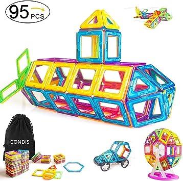 Condis 95 Piezas Bloques de Construcción Magnéticos para Niños, Juegos de Viaje Construcciones Magneticas Imanes Regalos Cumpleaños Juguetes Educativos para Niños Niñas de 2 3 4 5 6 7 8 Años Infantil: Amazon.es: Juguetes y juegos