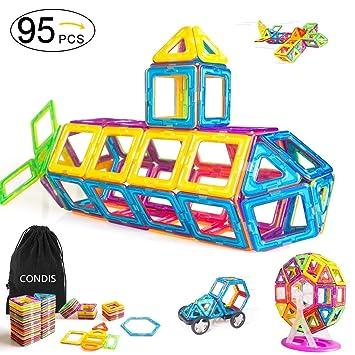 Condis 95 Piezas Bloques de Construcción Magnéticos para Niños, Juegos de Viaje Construcciones Magneticas Imanes Regalos Cumpleaños Juguetes ...