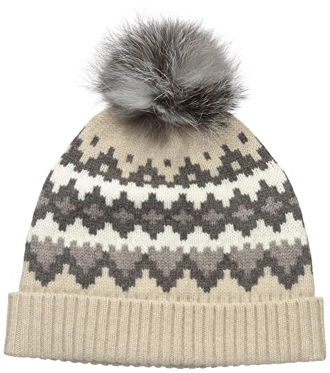 Sofia Cashmere Women's 100% Cashmere Graphic Fairisle Hat With Fox ...
