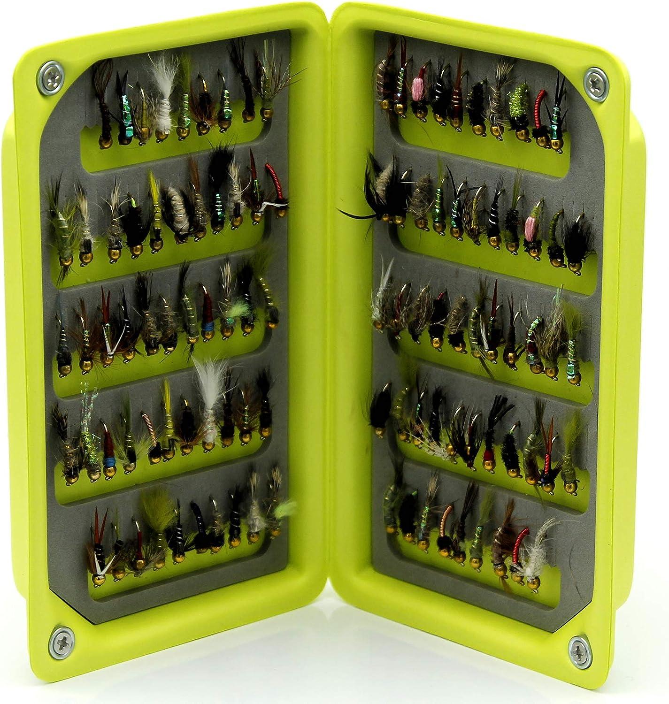 25 100 oder 208 x Mix Gold Head Nymphe Fliegen f/ür Forellenfischen Lakeland Fishing Supplies Ultra leichte High Density Eva Foam-Fliegenbox 50 10