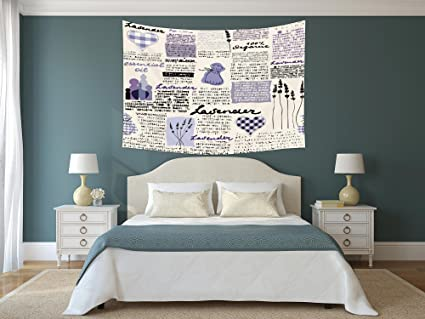 IPrint Polyester Tapestry Wall Hanging,Old Newspaper Decor,Lavender Retro  Pattern Hearts Herbs Organic