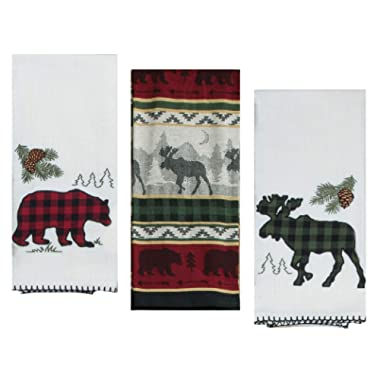 3 Cabin Lodge Themed Decorative Cotton Kitchen Towels Set with Bear and Moose Print | 2 Applique Tea Towels and 1 Jacquard Tea Towel for Dish and Hand Drying | by Kay Dee Designs