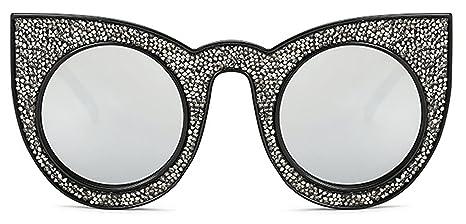 I' m King da donna lusso strass gioiello occhio di gatto occhiali da sole retro Style Oversized Bold RIM Round Lens, donna, Silver, L