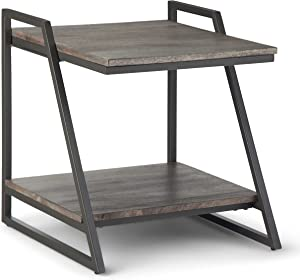 SIMPLIHOME Braxton Solid Mango Wood and Metal 20 inch wide Square Industrial Contemporary End Side Table in Carbon Stain with Storage, 1 Shelf, for the Living Room and Bedroom