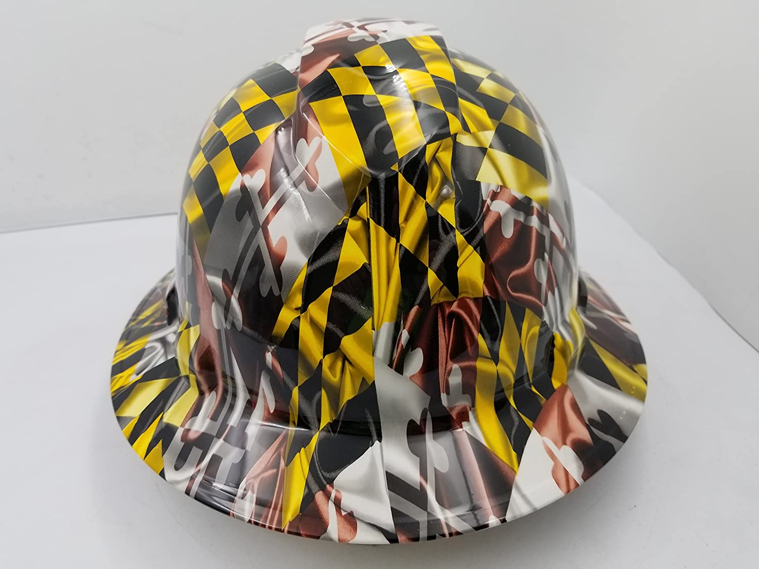 Wet works imaging customized pyramex full brim maryland state flag hard hat with ratcheting suspension custom lids crazy sick construction ppe amazon com