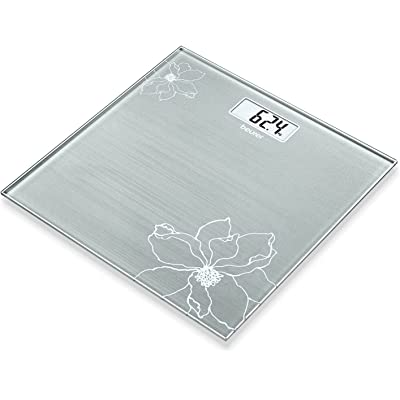 Beurer GS 10 - Báscula de baño de vidrio, báscula extra plana de 1.9 cm, pantalla digital LCD con grandes dígitos (2.6 cm), color grisáceo con detalle de flor con efecto purpurina
