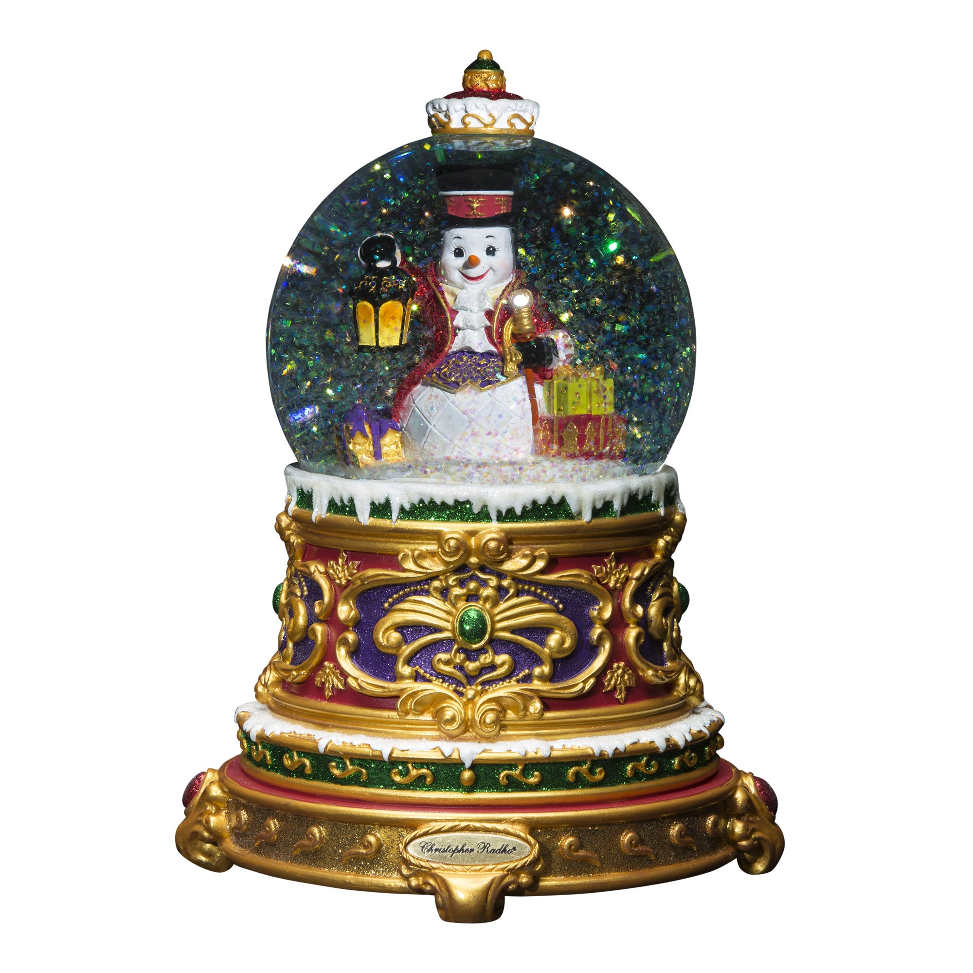 Christopher Radko Fancy Frost Snowman Snow Globe Plays Song ''Let It Snow'' by Christopher Radko