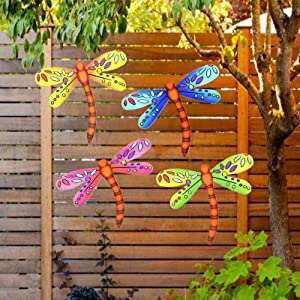 3D Metal Dragonfly Wall Accents, Dragonfly Wall Decor Sculpture Hang Outdoor Garden for Home, Bedroom, Living Room, Office, Garden